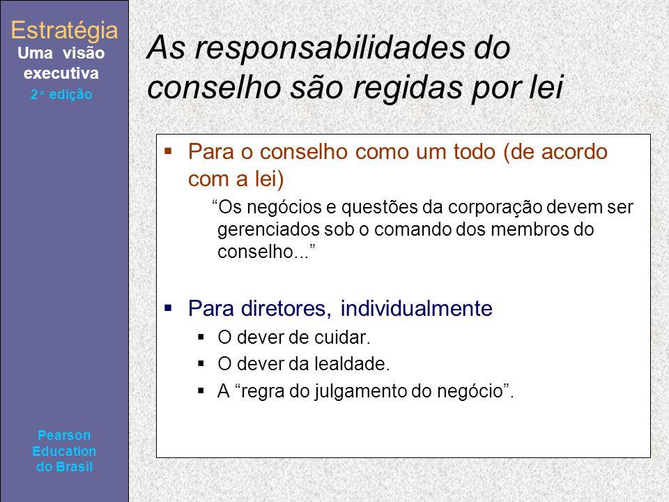 Estratégia Uma visão executiva Pearson Education do Brasil 2ª edição As responsabilidades do conselho são regidas por lei Para o conselho como um todo (de acordo com a lei) Os negócios e questões da corporação devem ser gerenciados sob o comando dos membros do conselho...