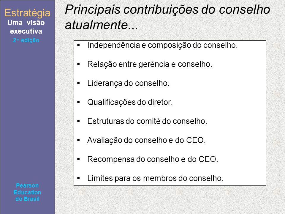 Estratégia Uma visão executiva Pearson Education do Brasil 2ª edição Principais contribuições do conselho atualmente...