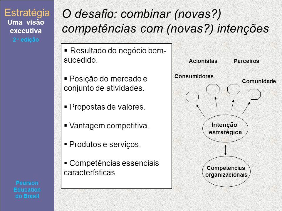 Estratégia Uma visão executiva Pearson Education do Brasil 2ª edição O desafio: combinar (novas ) competências com (novas ) intenções Resultado do negócio bem- sucedido.