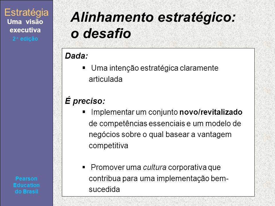 Estratégia Uma visão executiva Pearson Education do Brasil 2ª edição Alinhamento estratégico: o desafio Dada: Uma intenção estratégica claramente articulada É preciso: Implementar um conjunto novo/revitalizado de competências essenciais e um modelo de negócios sobre o qual basear a vantagem competitiva Promover uma cultura corporativa que contribua para uma implementação bem- sucedida