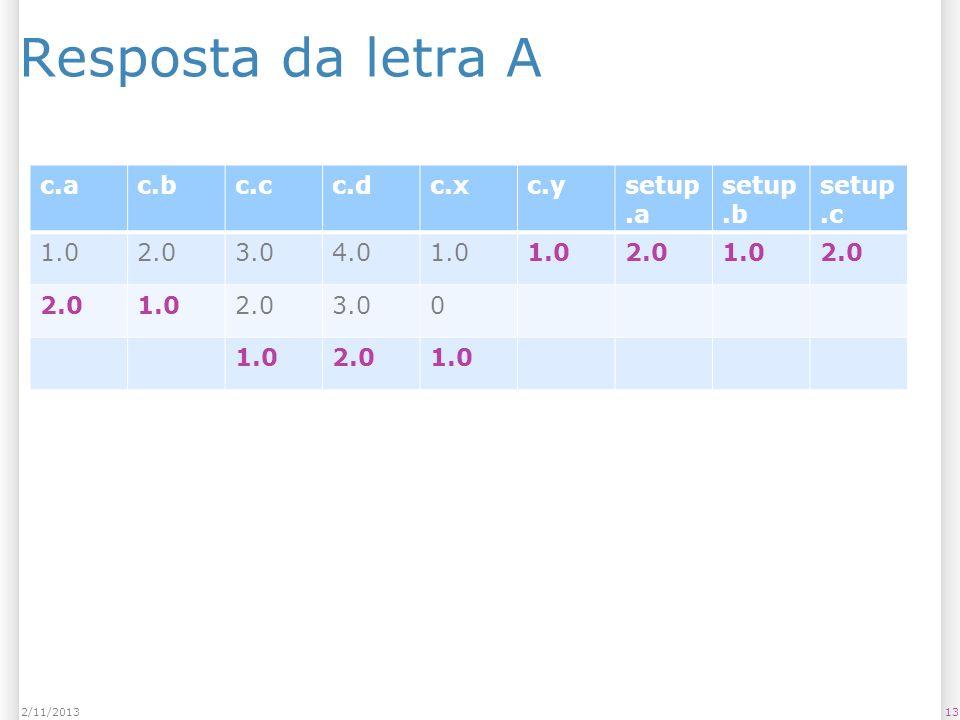 Resposta da letra A 132/11/2013 c.ac.bc.cc.dc.xc.ysetup.a setup.b setup.c 1.02.03.04.01.0 2.01.02.0 1.02.03.00 1.02.01.0