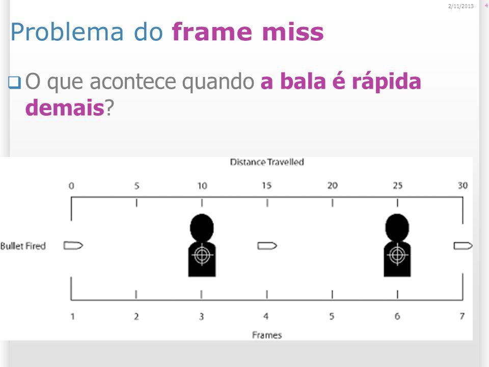 Problema do frame miss O que acontece quando a bala é rápida demais? 4 2/11/2013