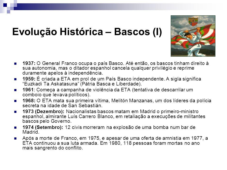 Evolução Histórica – Bascos (I) 1937: O General Franco ocupa o país Basco. Até então, os bascos tinham direito à sua autonomia, mas o ditador espanhol