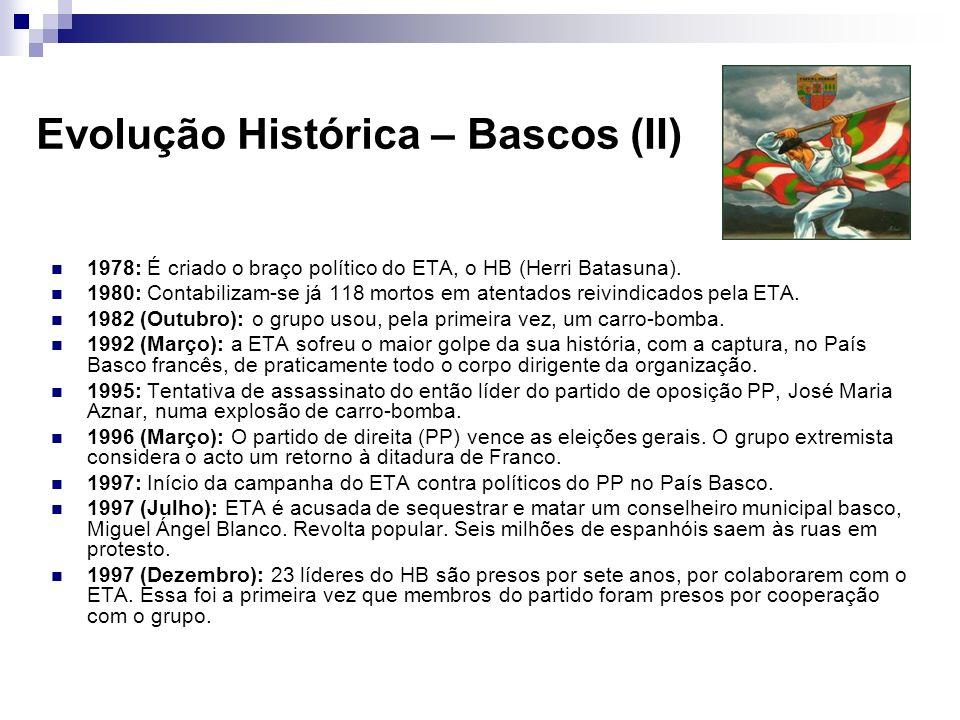 1978: É criado o braço político do ETA, o HB (Herri Batasuna). 1980: Contabilizam-se já 118 mortos em atentados reivindicados pela ETA. 1982 (Outubro)
