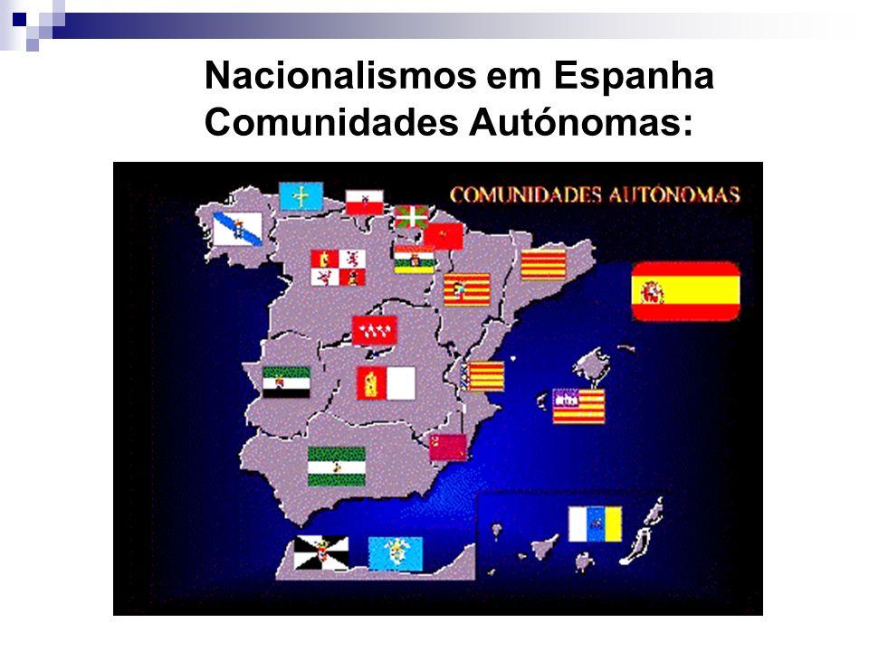 Nacionalismos em Espanha Comunidades Autónomas: