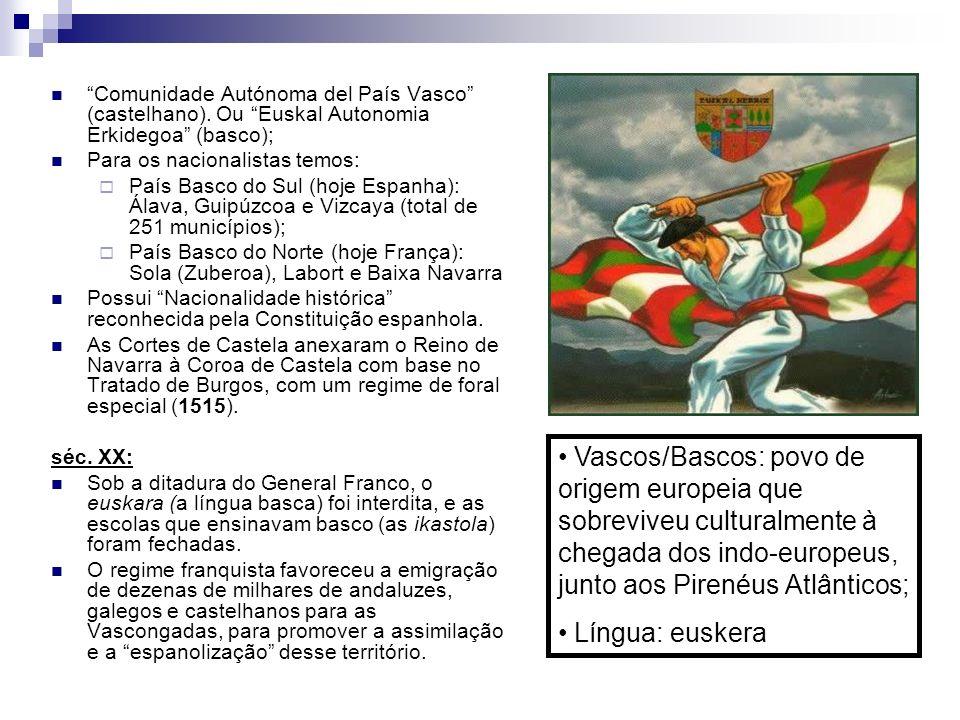 Comunidade Autónoma del País Vasco (castelhano). Ou Euskal Autonomia Erkidegoa (basco); Para os nacionalistas temos: País Basco do Sul (hoje Espanha):