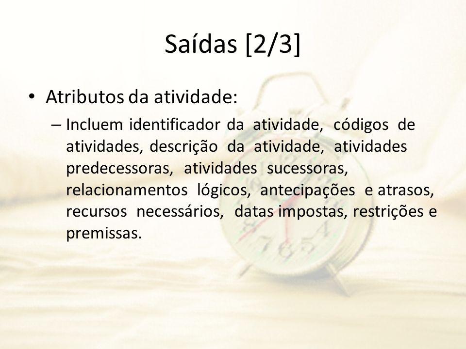 Saídas [2/3] Atributos da atividade: – Incluem identificador da atividade, códigos de atividades, descrição da atividade, atividades predecessoras, at