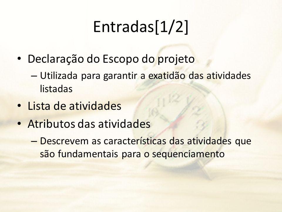 Entradas[1/2] Declaração do Escopo do projeto – Utilizada para garantir a exatidão das atividades listadas Lista de atividades Atributos das atividade
