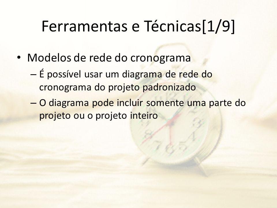 Ferramentas e Técnicas[1/9] Modelos de rede do cronograma – É possível usar um diagrama de rede do cronograma do projeto padronizado – O diagrama pode