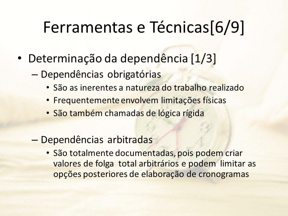Ferramentas e Técnicas[6/9] Determinação da dependência [1/3] – Dependências obrigatórias São as inerentes a natureza do trabalho realizado Frequentem