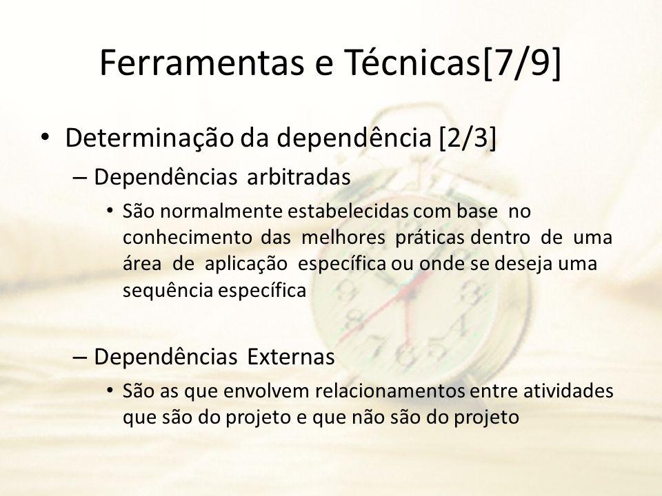 Ferramentas e Técnicas[7/9] Determinação da dependência [2/3] – Dependências arbitradas São normalmente estabelecidas com base no conhecimento das mel