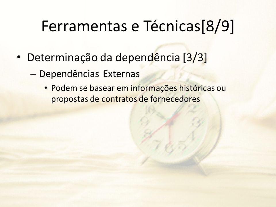 Ferramentas e Técnicas[8/9] Determinação da dependência [3/3] – Dependências Externas Podem se basear em informações históricas ou propostas de contra