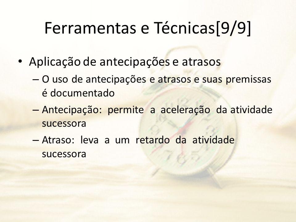 Ferramentas e Técnicas[9/9] Aplicação de antecipações e atrasos – O uso de antecipações e atrasos e suas premissas é documentado – Antecipação: permit