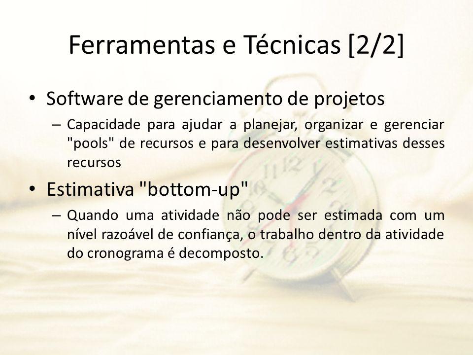 Ferramentas e Técnicas [2/2] Software de gerenciamento de projetos – Capacidade para ajudar a planejar, organizar e gerenciar
