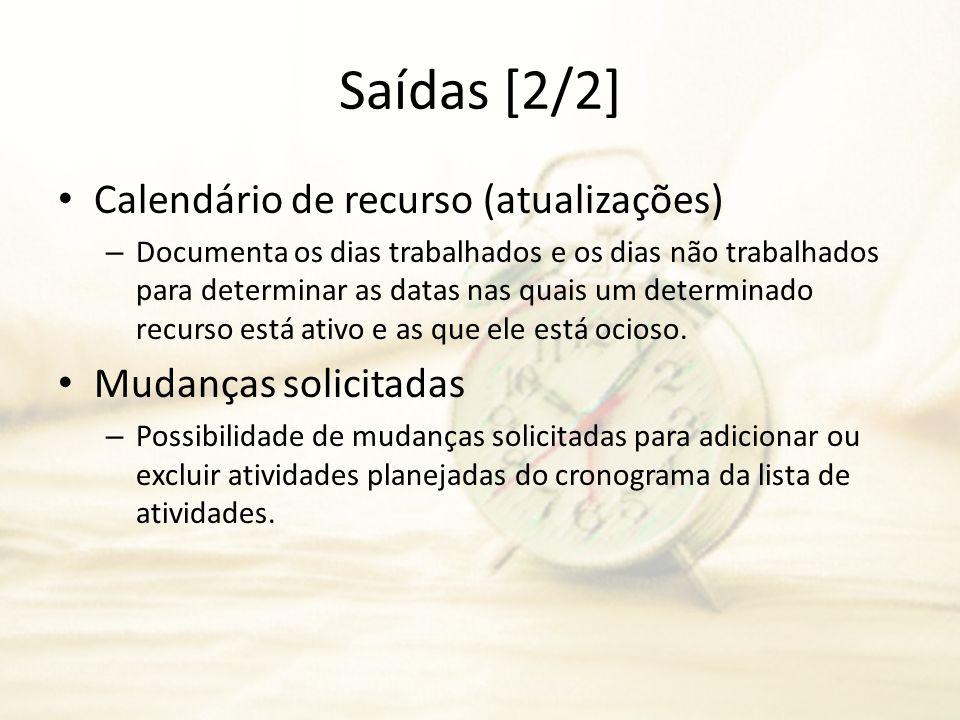 Saídas [2/2] Calendário de recurso (atualizações) – Documenta os dias trabalhados e os dias não trabalhados para determinar as datas nas quais um dete