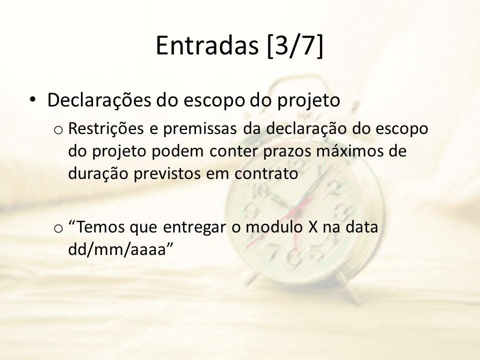 Entradas [3/7] Declarações do escopo do projeto o Restrições e premissas da declaração do escopo do projeto podem conter prazos máximos de duração pre