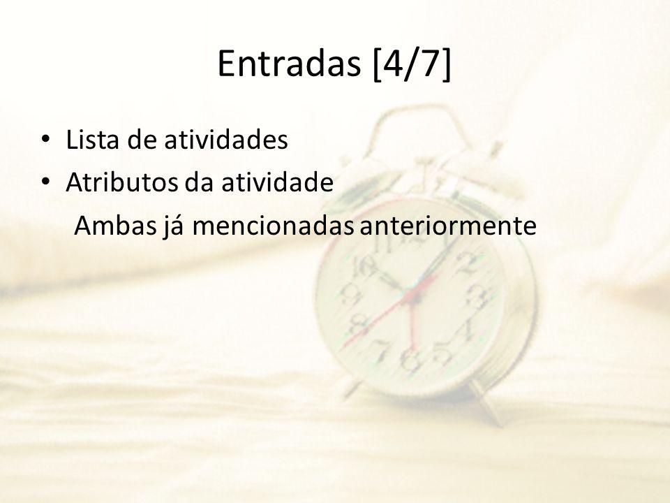 Entradas [4/7] Lista de atividades Atributos da atividade Ambas já mencionadas anteriormente