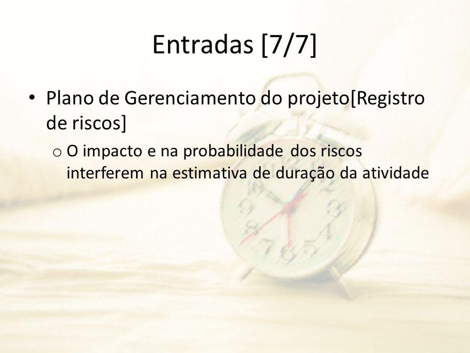 Entradas [7/7] Plano de Gerenciamento do projeto[Registro de riscos] o O impacto e na probabilidade dos riscos interferem na estimativa de duração da
