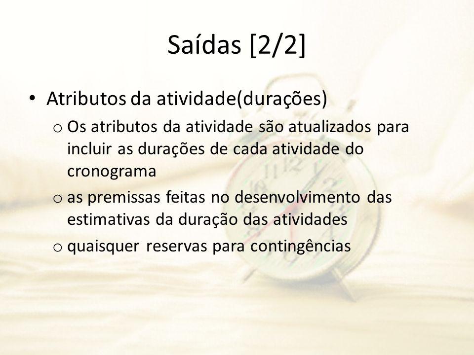 Saídas [2/2] Atributos da atividade(durações) o Os atributos da atividade são atualizados para incluir as durações de cada atividade do cronograma o a