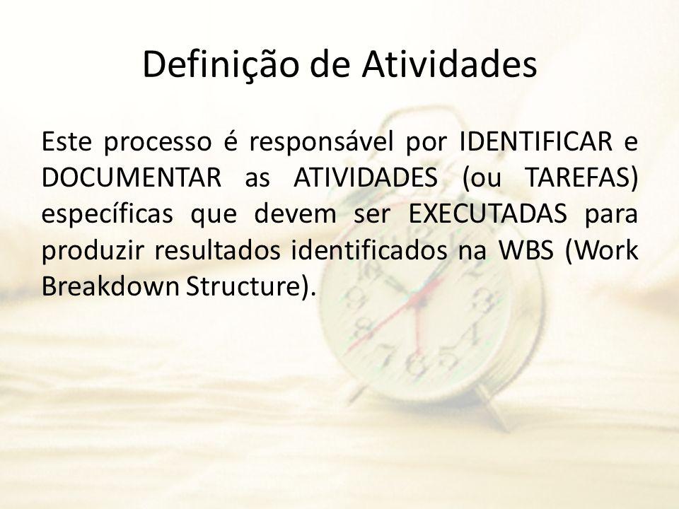 Definição de Atividades Este processo é responsável por IDENTIFICAR e DOCUMENTAR as ATIVIDADES (ou TAREFAS) específicas que devem ser EXECUTADAS para