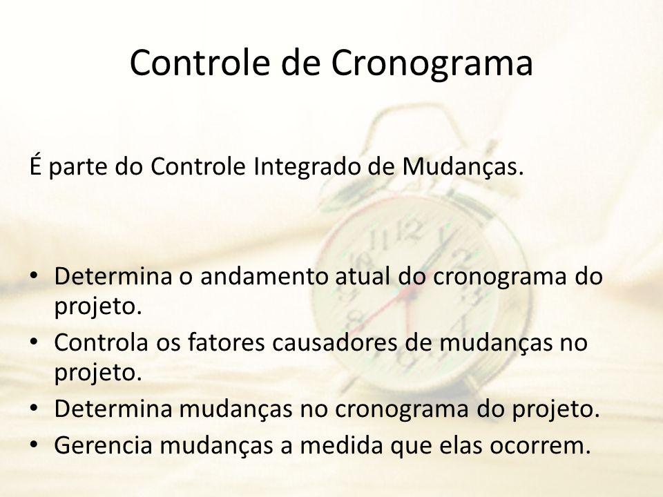 Controle de Cronograma É parte do Controle Integrado de Mudanças. Determina o andamento atual do cronograma do projeto. Controla os fatores causadores