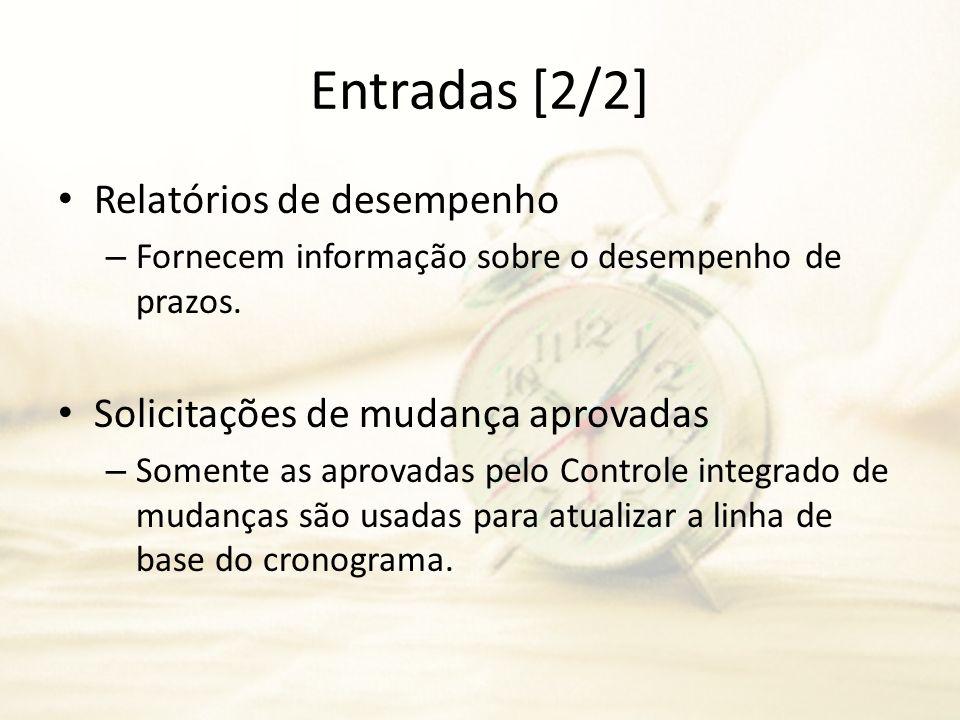Entradas [2/2] Relatórios de desempenho – Fornecem informação sobre o desempenho de prazos. Solicitações de mudança aprovadas – Somente as aprovadas p