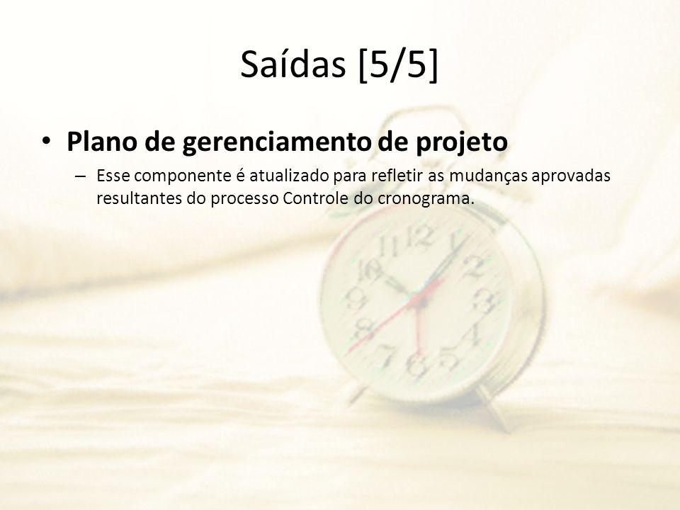 Saídas [5/5] Plano de gerenciamento de projeto – Esse componente é atualizado para refletir as mudanças aprovadas resultantes do processo Controle do
