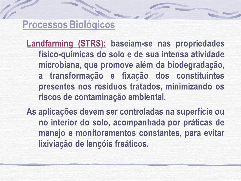 Processos Biológicos Landfarming (STRS): baseiam-se nas propriedades físico-químicas do solo e de sua intensa atividade microbiana, que promove além d