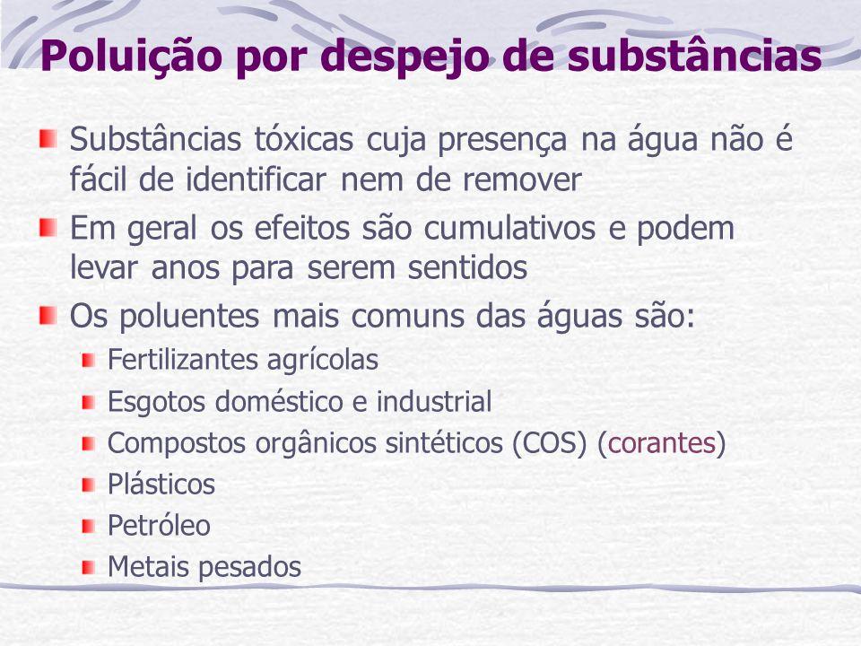 Poluição por despejo de substâncias Substâncias tóxicas cuja presença na água não é fácil de identificar nem de remover Em geral os efeitos são cumula