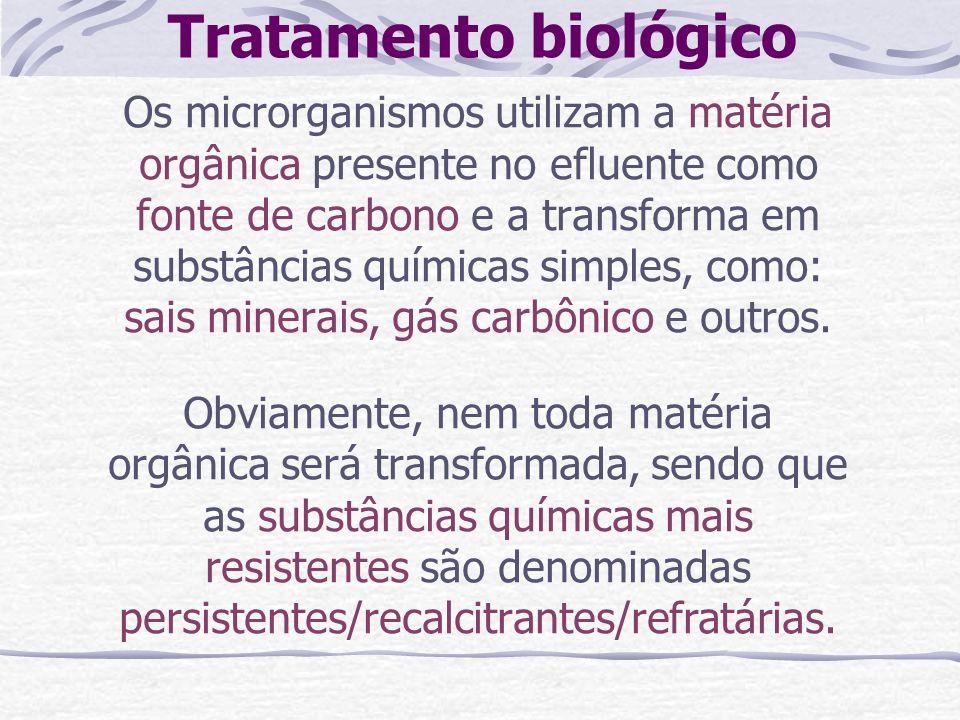 Tratamento biológico Os microrganismos utilizam a matéria orgânica presente no efluente como fonte de carbono e a transforma em substâncias químicas s