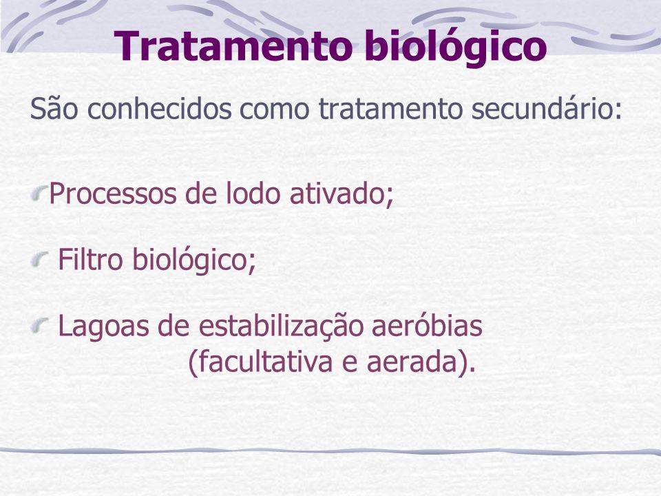 Tratamento biológico São conhecidos como tratamento secundário: Processos de lodo ativado; Filtro biológico; Lagoas de estabilização aeróbias (faculta