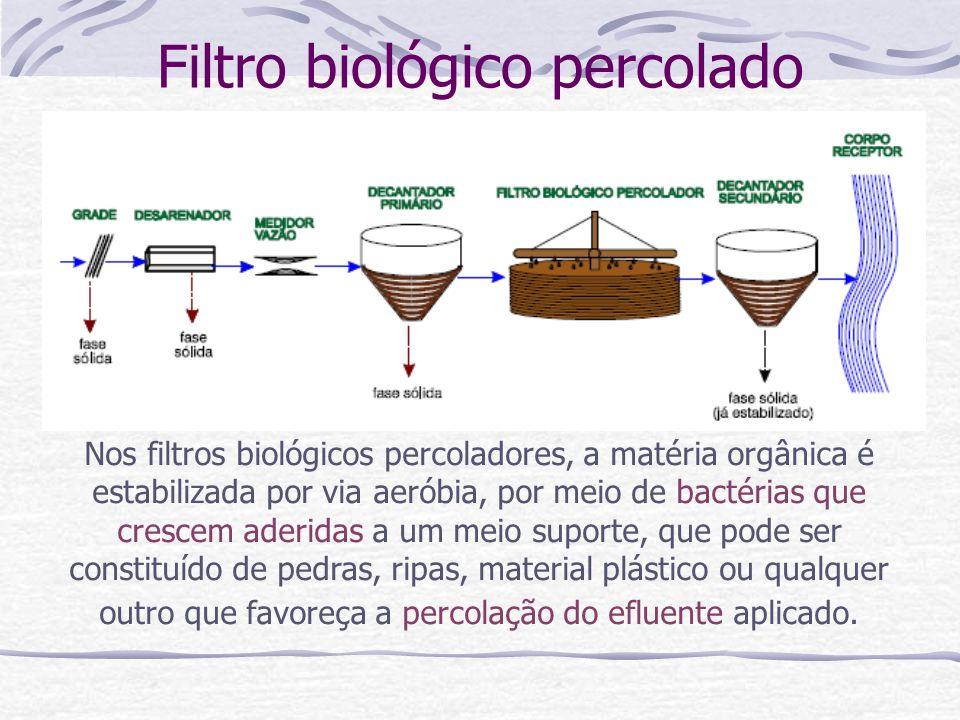 Filtro biológico percolado Nos filtros biológicos percoladores, a matéria orgânica é estabilizada por via aeróbia, por meio de bactérias que crescem a