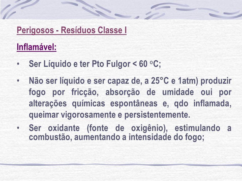 Perigosos - Resíduos Classe I Inflamável: Ser Líquido e ter Pto Fulgor < 60 o C; Não ser líquido e ser capaz de, a 25°C e 1atm) produzir fogo por fric