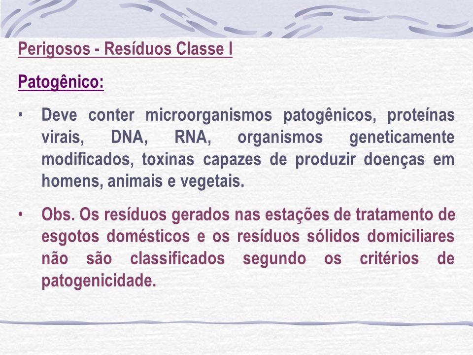 Perigosos - Resíduos Classe I Patogênico: Deve conter microorganismos patogênicos, proteínas virais, DNA, RNA, organismos geneticamente modificados, t