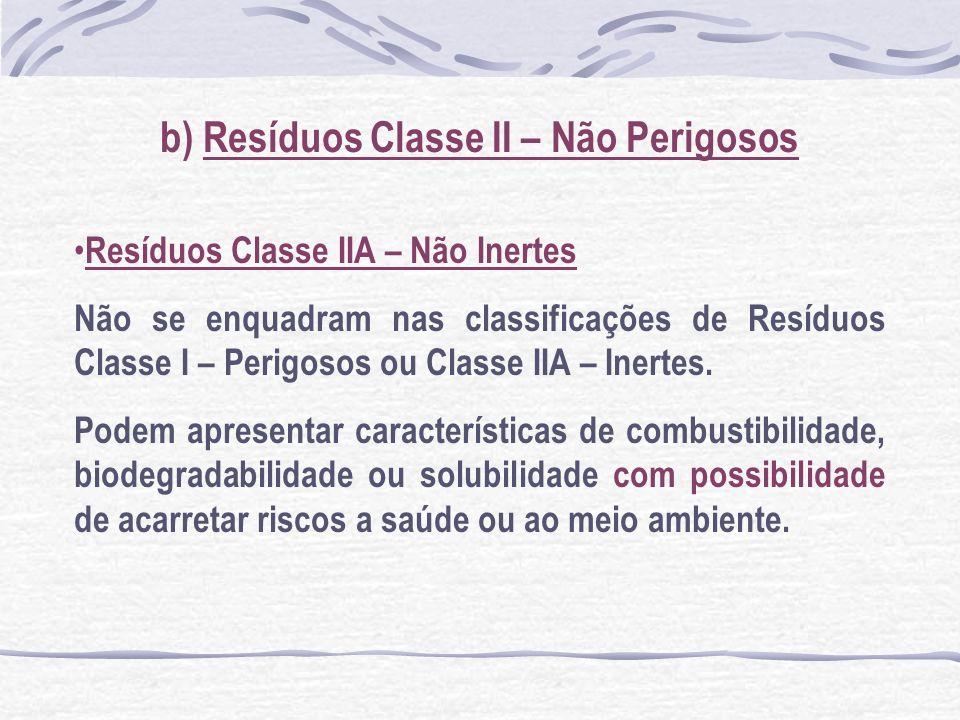 b) Resíduos Classe II – Não Perigosos Resíduos Classe IIA – Não Inertes Não se enquadram nas classificações de Resíduos Classe I – Perigosos ou Classe