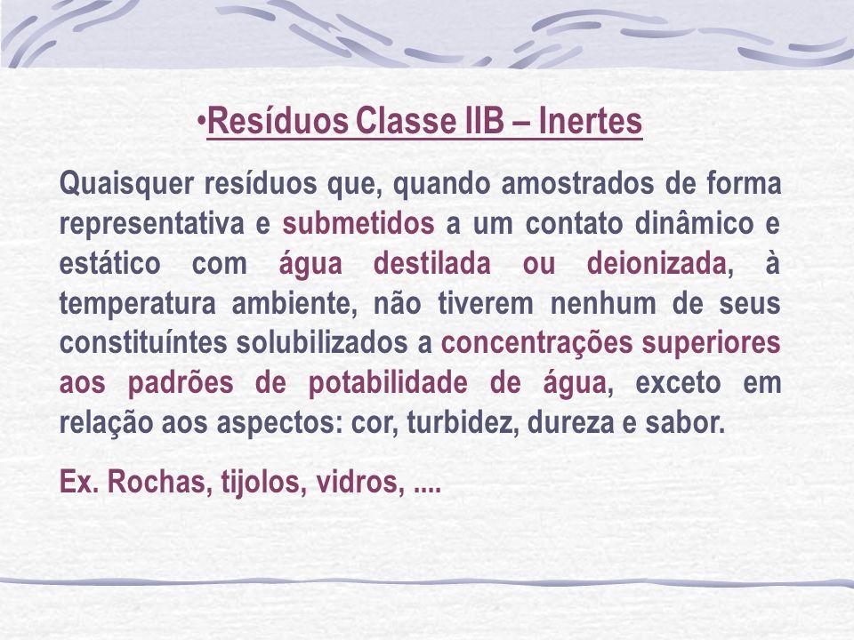 Resíduos Classe IIB – Inertes Quaisquer resíduos que, quando amostrados de forma representativa e submetidos a um contato dinâmico e estático com água
