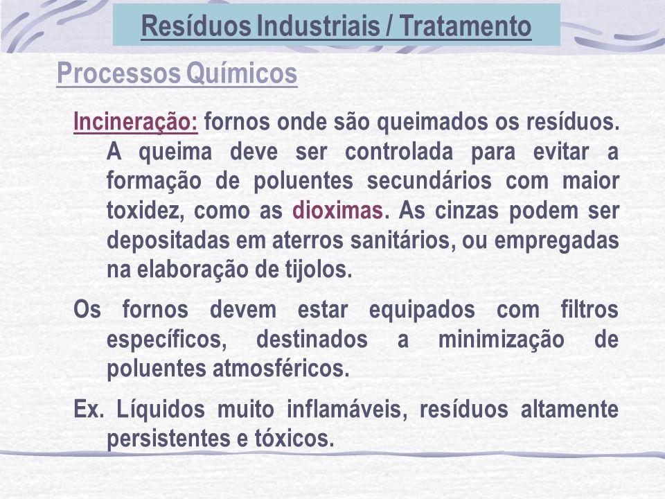 Processos Químicos Incineração: fornos onde são queimados os resíduos. A queima deve ser controlada para evitar a formação de poluentes secundários co