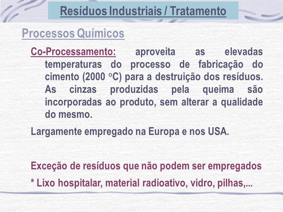 Processos Químicos Co-Processamento: aproveita as elevadas temperaturas do processo de fabricação do cimento (2000 o C) para a destruição dos resíduos