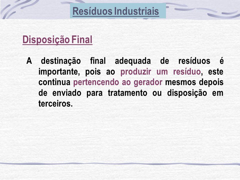 Disposição Final Resíduos Industriais A destinação final adequada de resíduos é importante, pois ao produzir um resíduo, este continua pertencendo ao