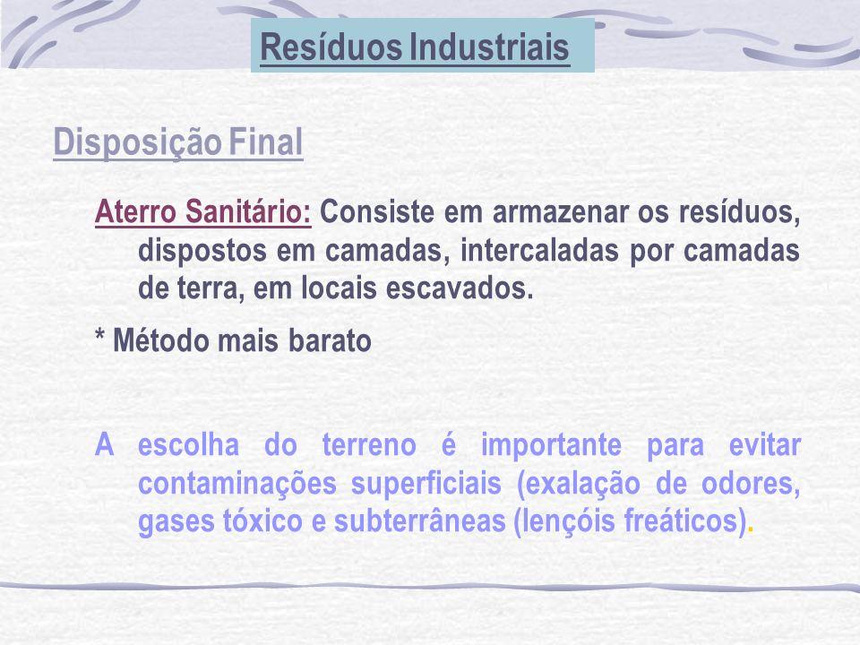Disposição Final Resíduos Industriais Aterro Sanitário: Consiste em armazenar os resíduos, dispostos em camadas, intercaladas por camadas de terra, em