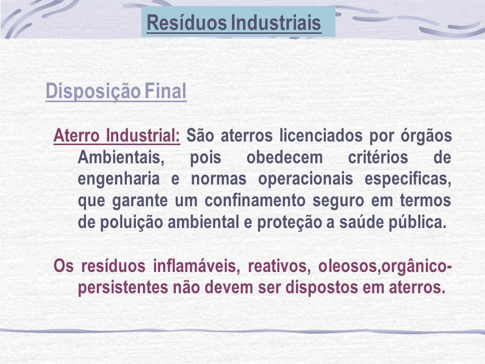 Disposição Final Resíduos Industriais Aterro Industrial: São aterros licenciados por órgãos Ambientais, pois obedecem critérios de engenharia e normas