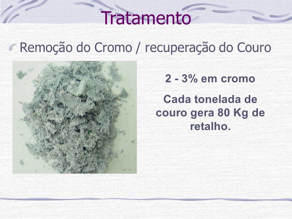 Tratamento Remoção do Cromo / recuperação do Couro 2 - 3% em cromo Cada tonelada de couro gera 80 Kg de retalho.