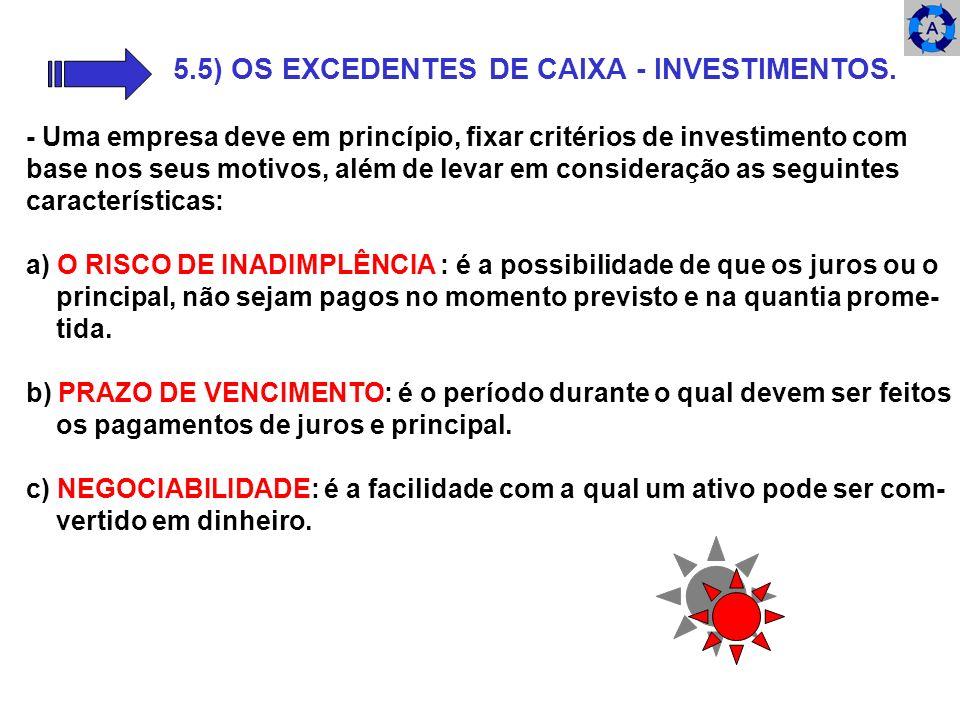 5.5) OS EXCEDENTES DE CAIXA - INVESTIMENTOS. - Uma empresa deve em princípio, fixar critérios de investimento com base nos seus motivos, além de levar