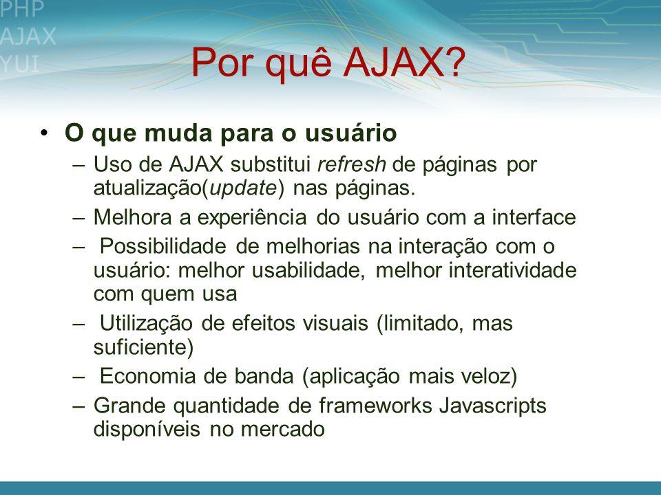 Por quê AJAX? O que muda para o usuário –Uso de AJAX substitui refresh de páginas por atualização(update) nas páginas. –Melhora a experiência do usuár