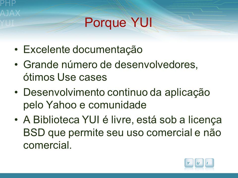 Porque YUI Excelente documentação Grande número de desenvolvedores, ótimos Use cases Desenvolvimento continuo da aplicação pelo Yahoo e comunidade A B