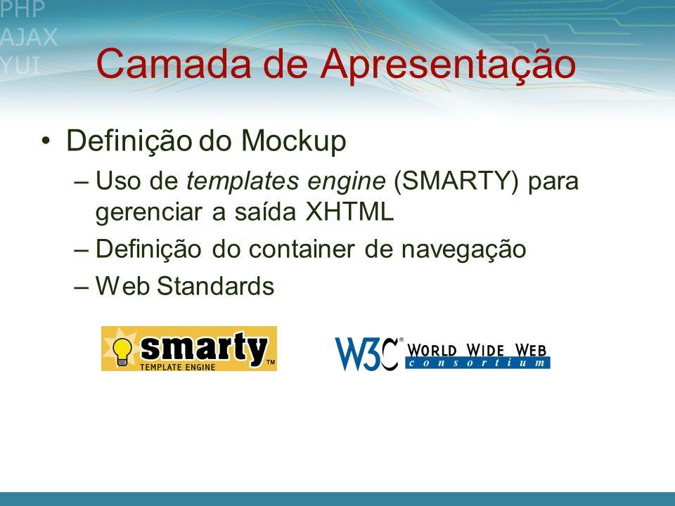 Camada de Apresentação Definição do Mockup –Uso de templates engine (SMARTY) para gerenciar a saída XHTML –Definição do container de navegação –Web St