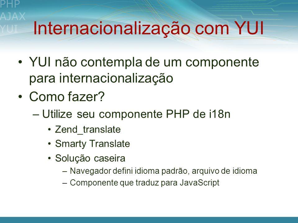 Internacionalização com YUI YUI não contempla de um componente para internacionalização Como fazer? –Utilize seu componente PHP de i18n Zend_translate