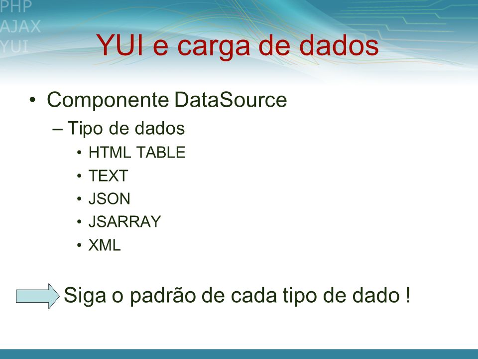 YUI e carga de dados Componente DataSource –Tipo de dados HTML TABLE TEXT JSON JSARRAY XML Siga o padrão de cada tipo de dado !