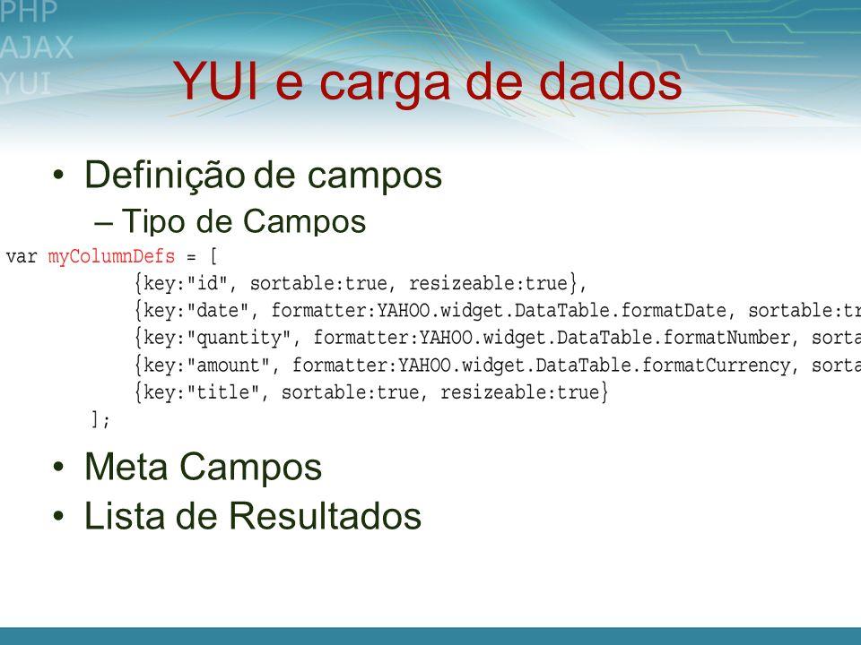 YUI e carga de dados Definição de campos –Tipo de Campos Meta Campos Lista de Resultados