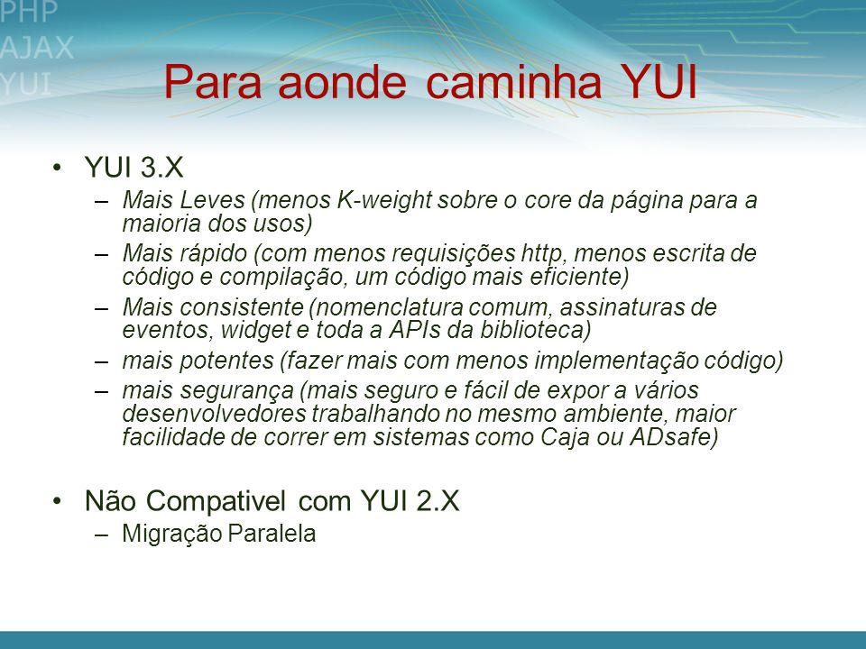Para aonde caminha YUI YUI 3.X –Mais Leves (menos K-weight sobre o core da página para a maioria dos usos) –Mais rápido (com menos requisições http, m